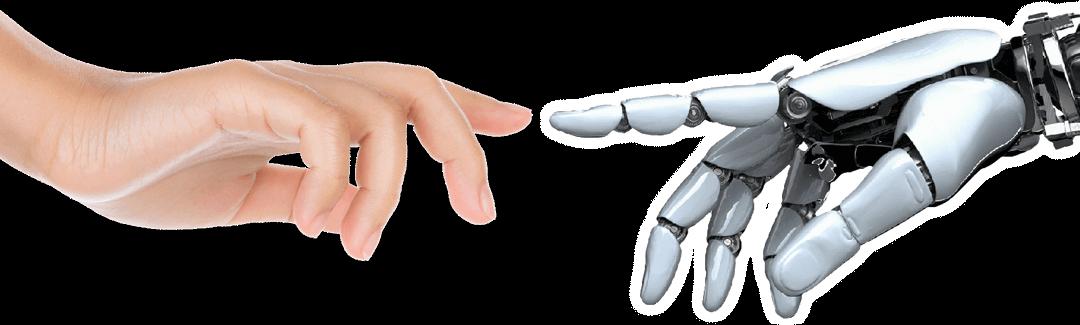 Жіноча рука та рука андроїда