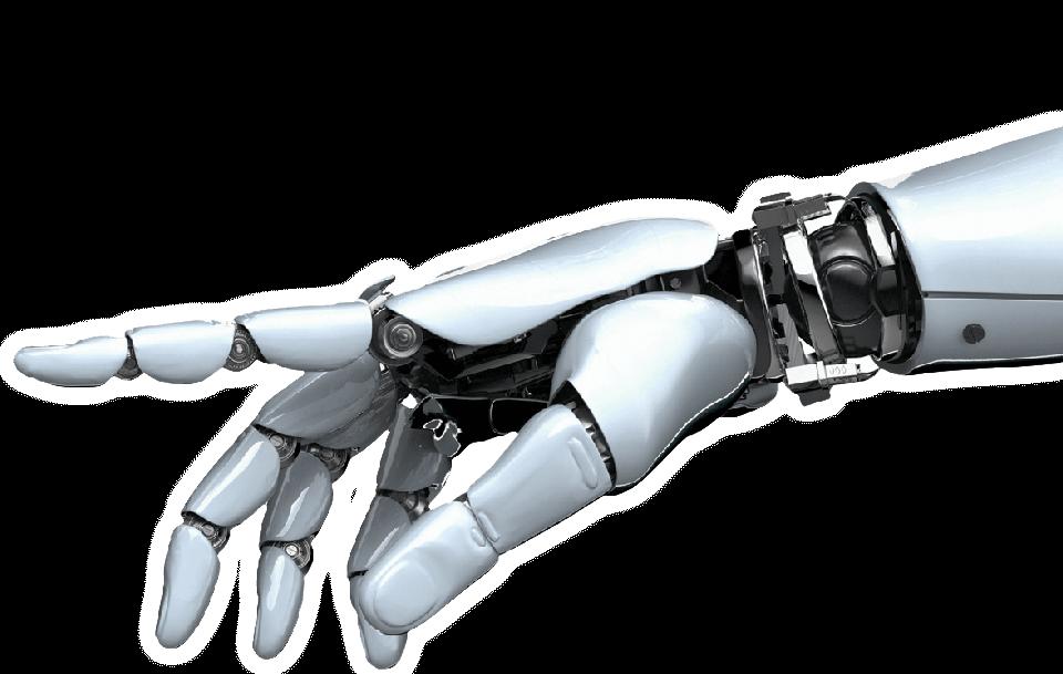Рука андроїда на прозорому тлі. ЮК Армада - Юридичний супровід бізнесу